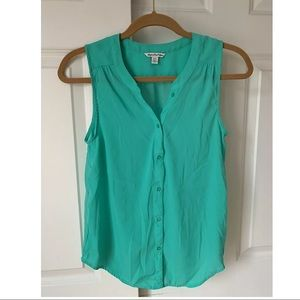 American eagle outfitters sheer teal button up Xs